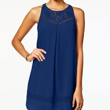 BCX Juniors' Lace-Yoke Crochet Shift Dress - Juniors Dresses - Macy's
