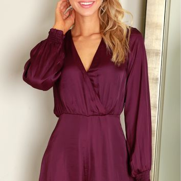 Long Sleeve Silk Romper Purple