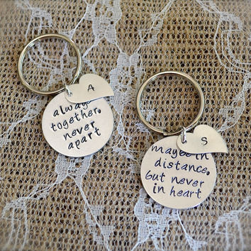 Long Distance Relationship or Best Friends Keychain Set - Always Together, Never Apart with Silver Heart Tags and Initials - Custom Stamped