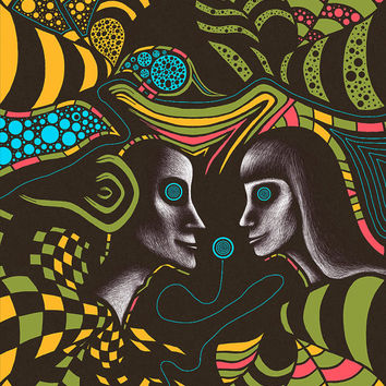 "Psychedelic art print. Large art print. Abstract art print. ""Couple"" Limited Edition"