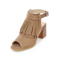 Spring/Autumn Shoes Women's Sandals Gladiator High Squre Heel Cow Suede Flock Peep Toe Casual Fashion Buckle Strap Tassel Fringe