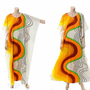 Vintage 60s Alice Polynesian Atomic Swirl Print Pleated Caftan Dress 1960s Accordion Pleats Mod Caftan Gypsy Hippie Boho Muumuu