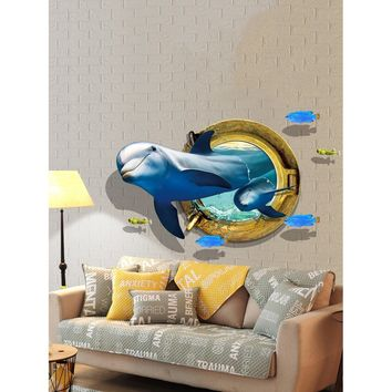 3D Sea Whale Wall Sticker