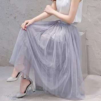 Wonderful Long Tulle Skirts A-line Mid-Calf Solid Color Plus Size XL-3XL Length Women Maxi Tulle Skirts Saias Femininas MZ1494
