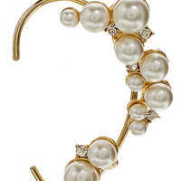 Gold Crystal and Faux Pearl Ear Cuff