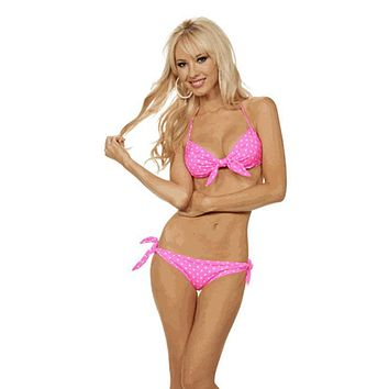 Hot Pink Polkadot Glamour Pin Up Bikini