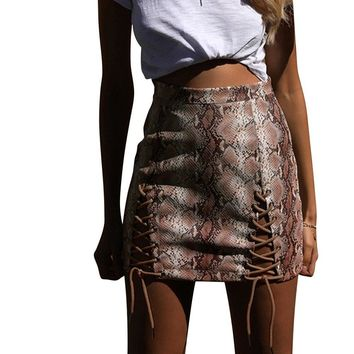 Snake Print Skirt Of Women Snake Print Mini High Waist Bodycon Clubwear Skater For Ladies Fashion Women Skirt