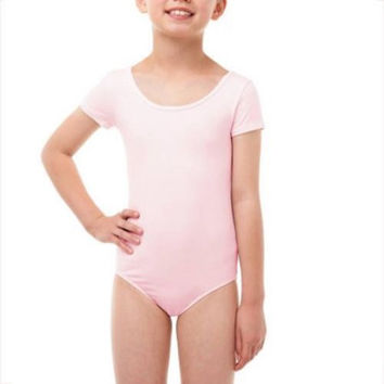 Danskin Now Girls' Short Sleeve Dance Leotard, Pink, Large 10-12