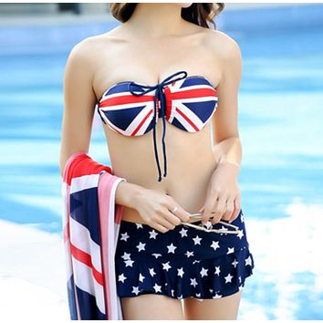 Fashion Summer New National Flag Print Wading Sports Swimsuit Straps Three Piece Bikini