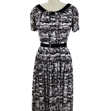 60s Velvet Trim Black White Abstract Print Midi Dress-S