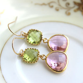 Peridot Earrings Pink Apple Green Jewelry Gold Light Pink - Bridesmaid Earrings Peridot Green Wedding Earrings Blush Pink Bridesmaid Jewelry