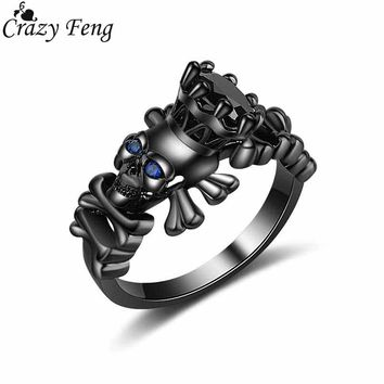 Crazy Feng New Punk Rock Black Gun Skull Rings Big Cubic Zirconia Crystal Filled Ring Anel Women's Wedding Party Copper Jewelry