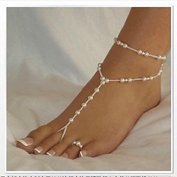 Stretchy Sexy white faux pearl foot jewelry perfect for beach wedding or just as barefoot sandals. Gypsy boho belly dance etc