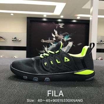 FILA Fshion Black Green Men Sports Running Shoes Sneaker