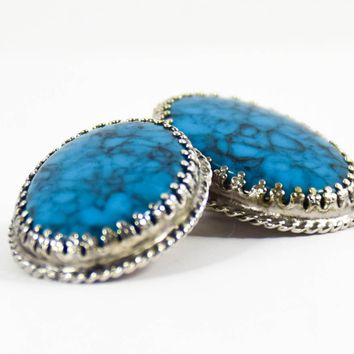 Vintage Turqouise Earrings - Whiting and Davis Earrings - Vintage Faux Turquoise Earrings - Gift for her - Mom Gift