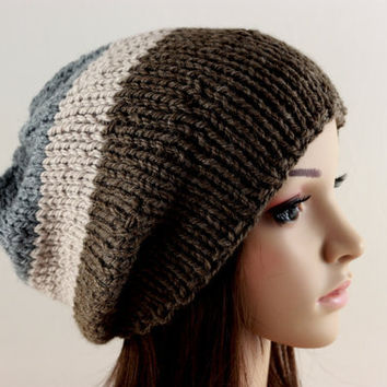 Knit Hat Slouchy Hat Mens Hat Teen Hat Womens Hat Beanie Multicolor