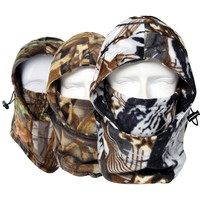 Hot Camouflage Real Tree Warmer Fleece Balaclava Hood Wind Winter Bicycle Cap Hats Snowboard Full Face Mask Beanies