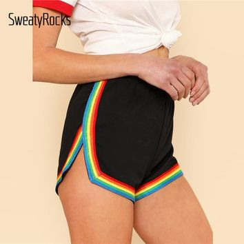 SweatyRocks Rainbow Tape Trim Dolphin Shorts Ladies Black Mid Waist Striped Casual Shorts 2017 Fall Elastic Waist Loose Shorts