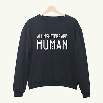 Autumn Women Hoodies All Monsters Are Human Letter Printed Pullover Sweatshirt for Lady Fashion Knitted Winter Female Tops Fall