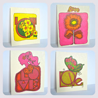 Vintage Love Stationary Card & Envelope - Set of 8 // 1970s