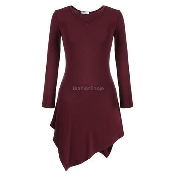 Meaneor Ladies Women Casual Long Sleeve Asymmetric Hem Stretch Bodycon Tops Blouse