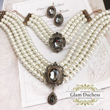 Vintage Inspired Victorian Pearl Jewelry Set