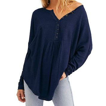 Free People - Leo Henley Top - Indigo Blue