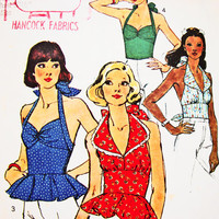 Vintage 1970s Halter Top Pattern Simplicity Misses size 10 Womens Sweetheart Neckline Halter Top Sewing Pattern