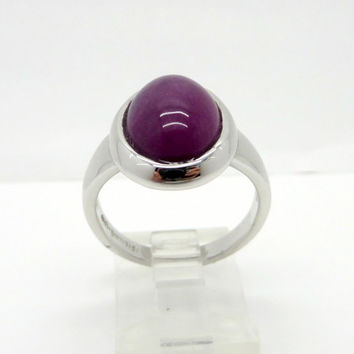 Vintage Purple Sugilite Cabochon Ring, Purple Gemstone Sterling Silver Ring, Size 9
