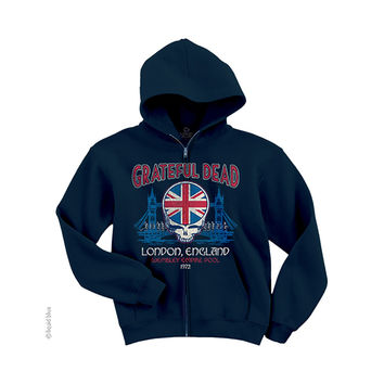 Grateful Dead Navy Blue Full Zip Hoodie, London 1972
