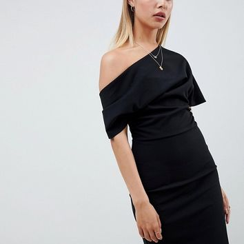 ASOS DESIGN pleated shoulder mini pencil dress at asos.com