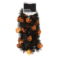 Pumpkin Halloween Tinsel Garland, 9 Ft.