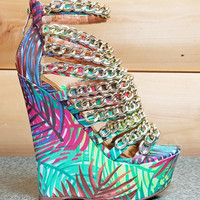 "Caked Up Tropical Palms Multiple Chain Platform Wedge Shoe - 6"" Heels"