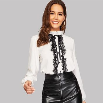 Tie Neck Buttoned Lace Trim Blouse Women Top Elegant Frill Long Sleeve Shirts Work Ladies White Top Blouses