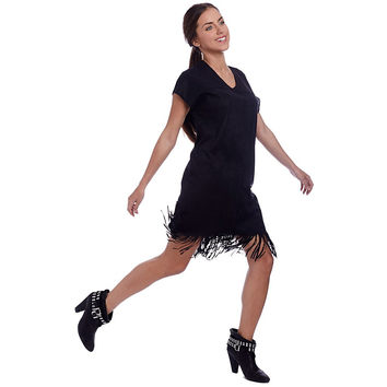 Short Sleeve Black Mini Dress in Soft Touch Suede