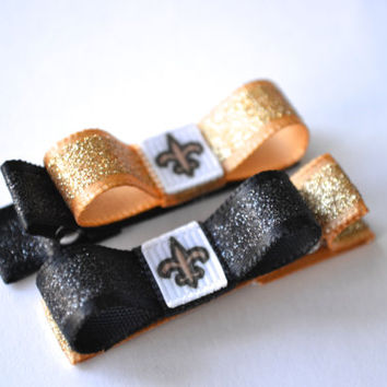 New Orleans Saints Hair Clips - Toddler Hair Clips - Saints Bows - New Orleans Saints Stocking Stuffer