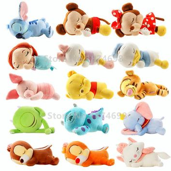 Cute Sleeping Mickey Minnie Stitch Marie Cat Little Mermaid Sulley Piglet Dumbo Chip and Dale Plush Stuffed Animals Kids Toy