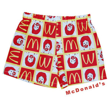 "Ronald McDonald ""cotton Boy Boxers Shorts; Red and White Shorts; Pajama Shorts Briefs 3T- 4"
