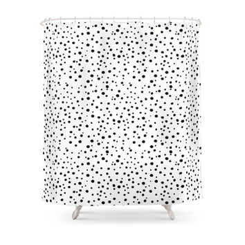 Society6 PolkaDots-Black On White Shower Curtain