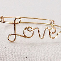 Custom Wire Love Bracelet (MADE TO ORDER) Customized Bracelet, Gold Bracelet, Silver Bracelet, Copper Bracelet, Wire Name Bracelet, Monogram