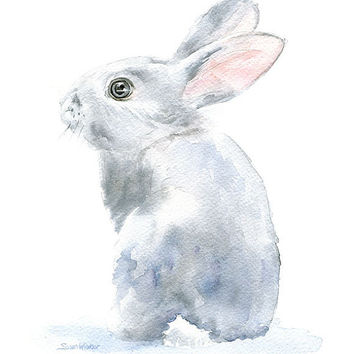 Watercolor Painting Bunny - Gray Bunny Rabbit - 8 x 10 - Gray Nursery Art - Giclee Reproduction Art Print