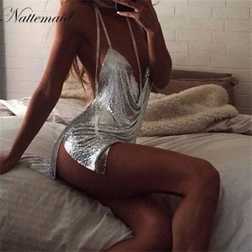 Kendall Jenner 21st Birthday Party Dress 2016 Women Sexy Nighclub  Sliver Metal dresses Spaghetti Strap sequins mini vestidos