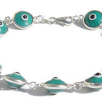 Evil Eye Dark Green Silver Bracelet