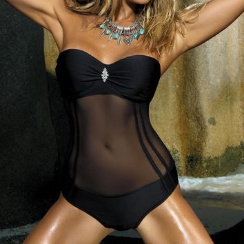 Black Sheer Net One-piece Swimsuit