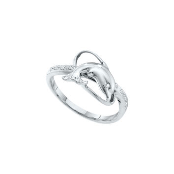 10kt White Gold Womens Round Diamond Dolphin Fish Animal Ring 1/20 Cttw 55038