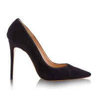 Shoes: 'PARIS' Suede Black Patent Leather Pointy Toe Heels 5""