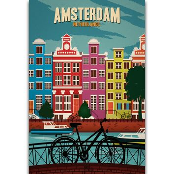 S293 Netherlands Amsterdam Vintage Travel  Scenery Tourism Wall Art Painting Print On Silk Canvas Poster Home Decoration