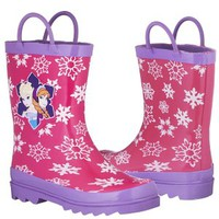 Disney Frozen Girls Anna and Elsa Pink Rain Boots - Size 11 M US Little Kid