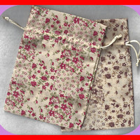 Calico Fabric GIFT Bags 5 x 7 Inch Drawstring