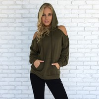 On My Way Distressed Hoodie in Olive